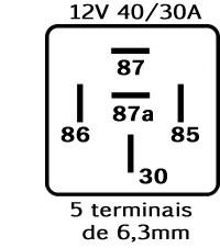 RELE AUXILIAR AUTOMOTIVO RA1512S NA/NF 5 TERM. 12V 40/30A