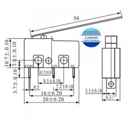 CHAVE MICRO SWITCH KW11-3Z-5 HASTE 56MM  NA/NF 5A/250V