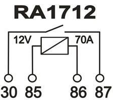 RELE AUXILIAR AUTOMOTIVO RA1712S NA/NF 4 TERM. 12V 70A
