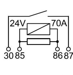 RELE AUXILIAR AUTOMOTIVO RA1724S NA/NF 4 TERM. 24V 70A