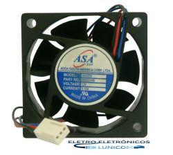 MINI VENTILADOR ASA-6025B-12 60x60x25 12V C/ ROLAMENTO 4800RPM