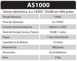 SIRENE ELETRONICA AS1000 1 TOM  6 A 14V 105DB INTERMITENTE