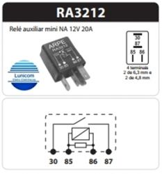 RELE AUXILIAR MINI AUTOMOTIVO RA3212  12V 20A NA 93.209.737 GM