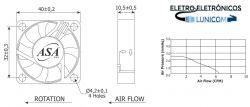 MINI VENTILADOR ASA-4010HB-05  40X40X10 5V C/ ROLAMENTO 6100RPM