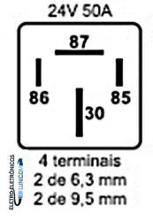 RELE AUXILIAR AUTOMOTIVO RA2524S 50A 24V 4T