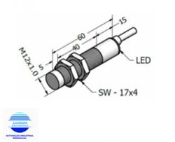 SENSOR INDUTIVO ECL4-12DA NPN  M12 4MM NA 3 FIOS CABO 1MT