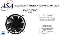 VENTILADOR AXIAL SOPRADOR 200MM ASA2E-200BC 2071A  220V MONOFASICO