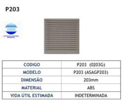 FILTRO PP203  P/ MINI VENTILADOR 172X172MM