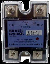 RELE ESTADO SOLIDO D12-10  ENT. 3-32VDC SAIDA 5-220VDC 10A
