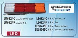 LANTERNA LED  6824SC 24V COM CONECTOR E SIRENE DE RÉ 60 LEDS P/ CAMINHÃO