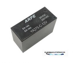 RELE ARPE INDUSTRIAL YA275-12VDC 8AMP 2NA/2NF SELADO
