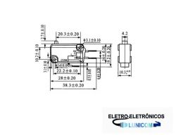 CHAVE MICRO SWITCH KW11-7-1 S/  HASTE NA/NF 16A/250V