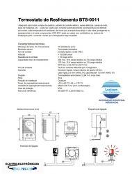 TERMOSTATO  BTS-0011 0~60ºC NA 10A/110~220V P/ TRILHO DIN
