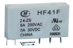 RELE SLIM HF41F 24V 1NA/NF 6AMP HONGFA